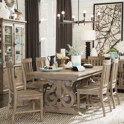 Rustic Light Wood Dining Set Table
